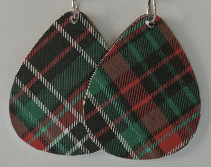 Christmas Wood Earrings with Silver Fishhook