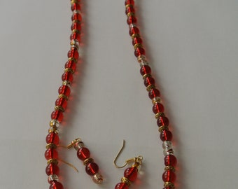 Red and Gold Beadded Necklace with Matching Earrings
