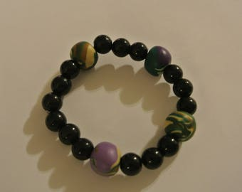 Black Stretch Bracelet with Camo Bead Accents