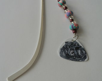 Silver Bookmark with Pink an Blue Beads and a Black and White Pug Guitar Pick