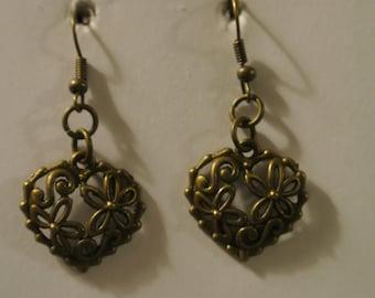 Bronze Heart with Bronze Fishhook
