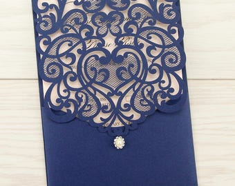 SAMPLE * Josephine Laser Cut Wedding Invitation, Navy, Dark Blue, Coral, Pocketfold