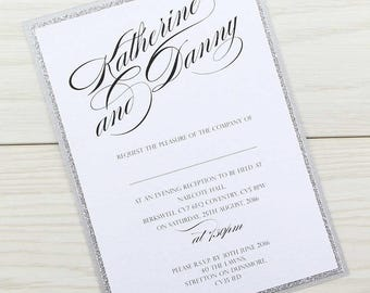 SAMPLE * Oscar Glitter Evening Wedding Invitation Oscar Range
