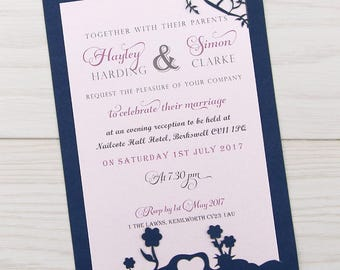 SAMPLE * Laurel Tree Laser Cut Evening Wedding Invitation - Contemporary Fonts