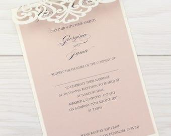 SAMPLE * Josephine Laser Cut Wedding Evening Invitation. Josephine Range