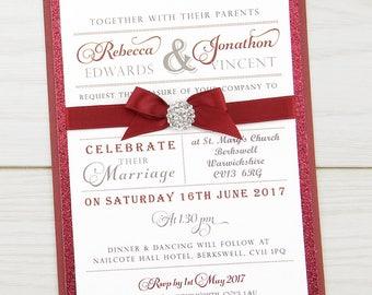 SAMPLE * Regent Parcel Wedding Invitation Glitter and Satin