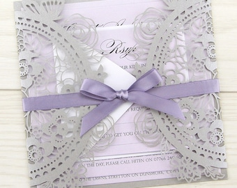 SAMPLE * Poppy Laser Cut with Satin Bow Wedding Invitation, Grey, Lavender and Thistle