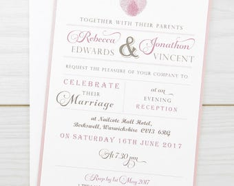 SAMPLE * Thumb Print Evening Wedding Invitation