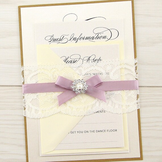 When Should Wedding Invitations Be Ordered: SAMPLE Imogen Parcel Wrap Wedding Invitation Lace Satin