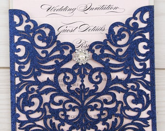 SAMPLE * Glitter Laser Cut Ruby Wedding Invite with Diamante
