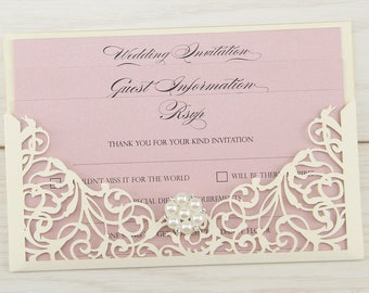 SAMPLE * Isabella Laser Cut Wedding Invitation with Pearl Cluster