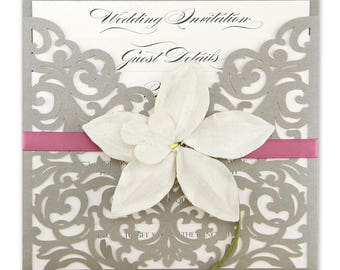 SAMPLE * Ruby Laser Cut Wedding Invitation with Orchid