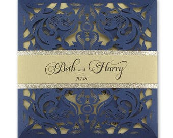 SAMPLE * Farrah Laser Cut with Personalised Glitter Belly Band. Navy and Gold