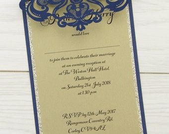 SAMPLE * Farrah Glitter Laser Cut Wedding Evening Invitation. Farrah Glitter Range