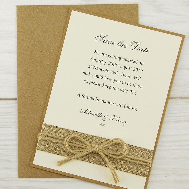 Rustic Burlap Save the Date Cards Rustic Wedding Range SAMPLE