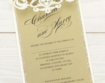 SAMPLE * Iris Glitter Laser Cut Wedding Evening Invitation. Iris Glitter Range
