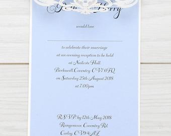 SAMPLE * Farrah Laser Cut Wedding Evening Invitation. Farrah Range