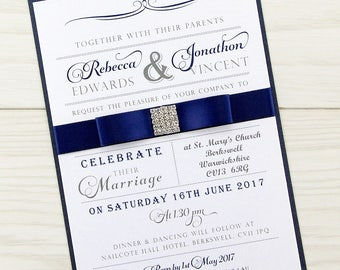 SAMPLE * Georgia Parcel Wedding Invitation Dior Bow Square Diamante
