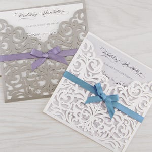 European Style Lace Wedding Invitations Cards Burgundy Laser Greeting Card Bowbelt Wedding Engagement Party Supplier