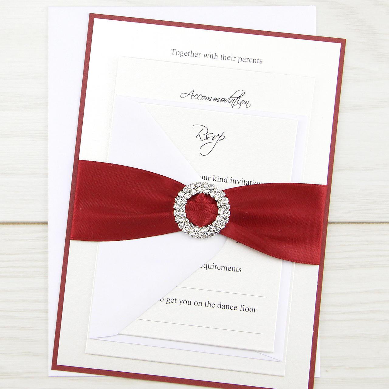 SAMPLE Double Diamante Buckle Parcel Wedding Invitation | Etsy