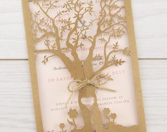 SAMPLE * Laurel Laser Tree Wedding Invitations with Twine, Gatefold, Summer Wedding Invite