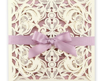 SAMPLE * Farrah Laser Cut Wedding Invitation with Bow. Pink Invites
