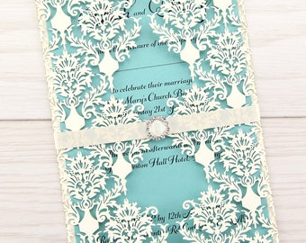 SAMPLE * Rosa Laser Cut with Buckle Wedding Invitation