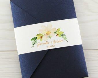 SAMPLE * The Primrose Pocketfold Wedding Invitation - Personalised Belly Band
