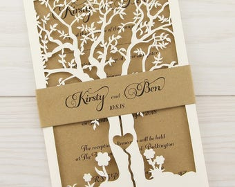 SAMPLE * Laurel Laser Cut with Belly Band - Rustic Wedding Invitation