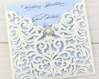 SAMPLE * Cream Ruby Laser Cut Wedding Invitation, Vintage Diamante, Pocket, Self Assembly.