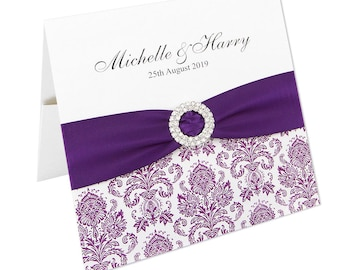 SAMPLE * Ornate Damask Pocketfold Wedding Invitation
