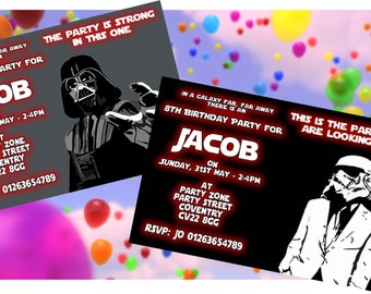Star Wars - Personalised Children's Party Invitations -  Pack of 10 - 2 Designs