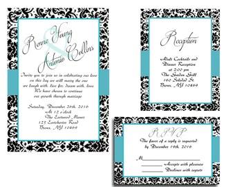 25 Blue Black Damask Wedding invitations RSVP and Reception cards