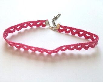 Pink choker Necklace / Trim choker