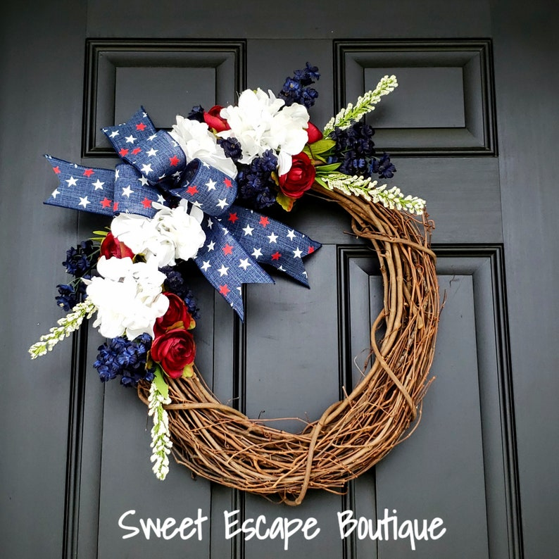 Fourth of July wreath personalized wreath,independence day wreath patriotic wreath,floral wreath,front door wreath,summer wreath