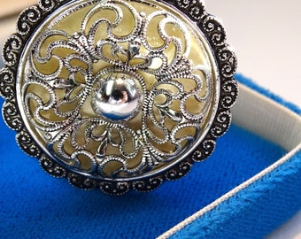 West Germany Silver tone scarf clip Silver filigree openwork metal scarf clip
