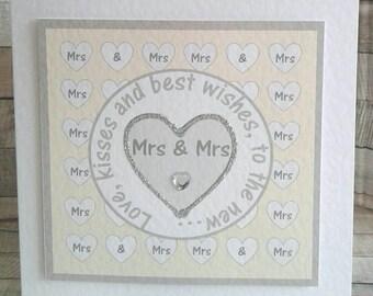 GAY WEDDING CARD - Mrs & Mrs wedding - lesbian wedding card - bride and bride