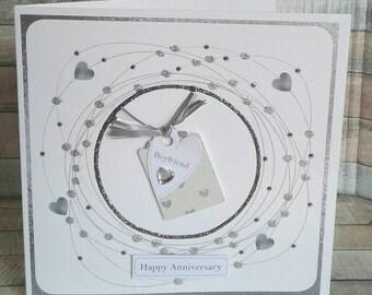 BOYFRIEND ANNIVERSARY CARD - anniversary card for boyfriend -  Handmade anniversary card - cards for him - boyfriend card
