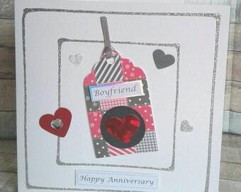 BOYFRIEND ANNIVERSARY CARD - anniversary Greetings Card - boyfriend anniversary - anniversary card for boyfriend -  Handmade - Hearts - Love