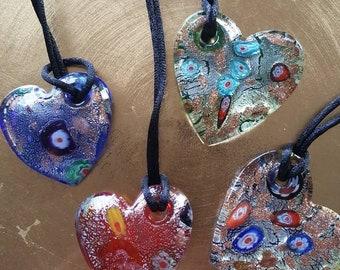 Glass Heart Necklaces - 3 Varieties