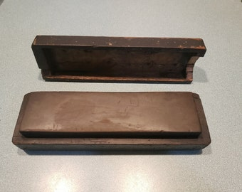 Antique Sharpening Stone in Hand Made Case.