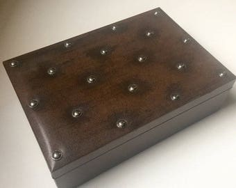 Gold Stamped 'For Appointment to Royalty'SWANK Brand- Pewter Metal Studded Jewelry Box-Sweden Leather