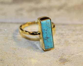 Vermeil Rectangle Stone Rings - Turquoise Carnelian Ruby Moonstone Spinel Sizes 5 6 7 8