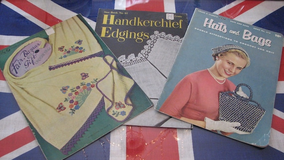 Group Of Three Vintage Crochet And Knitting Pattern Books Etsy