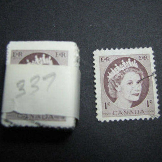 One Hundred 1954 Cent Canadian Postage Stamps