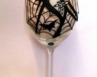 Jack Skellington Glitter Wine Glass