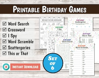 Birthday Party Games, Birthday Scattergories, Birthday This or That, Birthday Crossword, Birthday Printables for Kids, Instant Download PDF