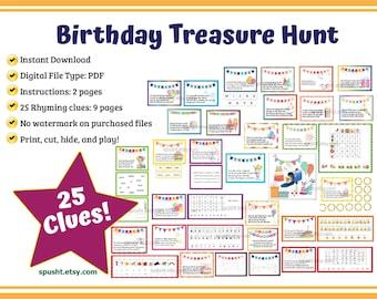 Birthday Scavenger Hunt, Birthday Treasure Hunt Clues, Indoor Treasure Hunt for Kids, Boys & Girls, Birthday Games, Scavenger Hunt for Kids