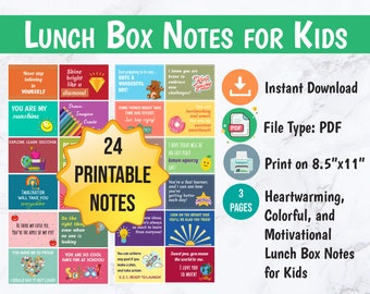 Lunch Box Notes for Kids, Printable Lunchbox Notes, Lunch Cards, Back to School Notes, Motivational Note Cards, Positive Messages, PDF