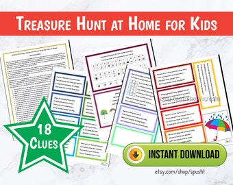 Scavenger Hunt for Kids, Treasure Hunt for Kids, Indoor Scavenger Hunt Clues, Treasure Hunt Clues, Printable Games for Kids, Summer Activity